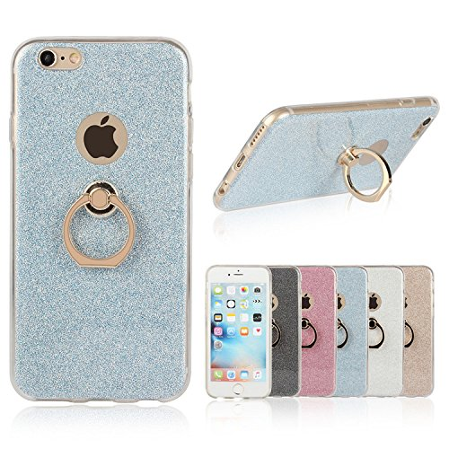 iPhone 6s plus Case, Ranrou TPU Soft Sparkle Powder Back Cover with 360 Degree Rotating Ring Stent for iPhone 6 plus and iPhone 6s plus (5.5 Inch)(Light Blue)
