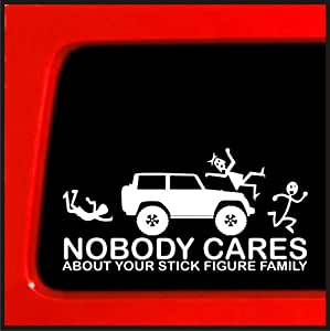 Stick Figure sticker for Jeep Family Nobody Cares funny truck white decal bumper *