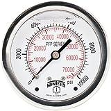 """Winters PFP Series Premium Stainless Steel 304 Dual Scale Liquid Filled Pressure Gauge, 0-10000 psi/kpa, 2-1/2"""" Dial Display, +/-1.5% Accuracy, 1/4"""" NPT Back Mount"""