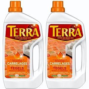 Terra - Produit de Lavage pour Carrelages - Savon d'Huile de Lin - Bouteille 1 L - Lot de 2