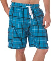 LA88113B - Mens Trendy Plaid Print Skate Surf Board Short / Swim Trunks - Blue/Large