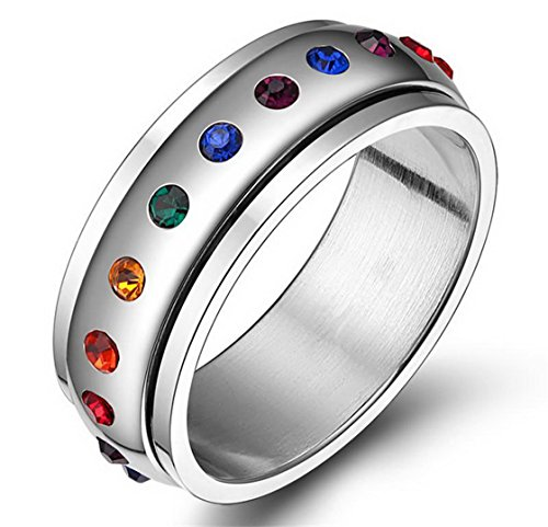 PSRINGS Rotating Spinner Ring Stainless Steel Ring With Rainbow Crystal Multicolor Rhinestone love Pride 7.0 (Lil Kim Halloween Costume compare prices)