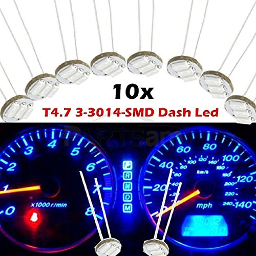 Partsam 10PCS Blue T4.7 Instrument Panel LED Light Gauge Cluster Bulbs Dashboard Indicator Lamp Repair Kit for 03 04 05 06 Chevy GMC (Gm Instrument Cluster Bulbs compare prices)