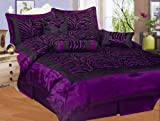 51I7nWGGD8L. SL160  NEW 7PC FAUX SILK FLOCKING PURPLE BLACK ZEBRA PRINT QUEEN SIZE CHEETAH COMFORTER SET