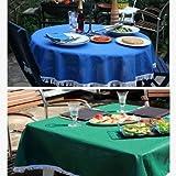 "Stayput Non Slip Round Outdoor/Patio Tablecloth with Umbrella Hole - 55"" Dia Mediterranean Blue"