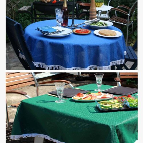 Stayput Non Slip Blue Patio Tablecloth With Umbrella Hole