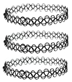 3 Pack - Henna Tattoo Choker Necklace, Black Stretch Chokers