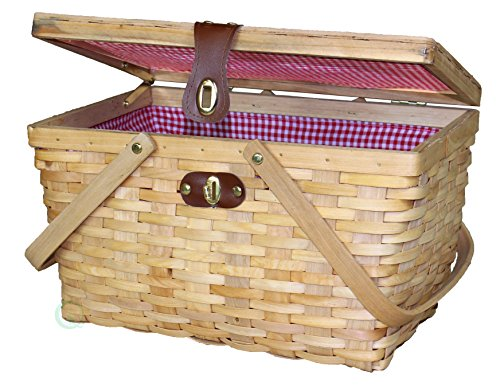 Great Features Of Vintiquewise(TM) Large Gingham Lined Picnic Basket