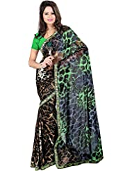 Exotic India Loepard-Skin Printed Saree With Embroidered Patch Border - Green
