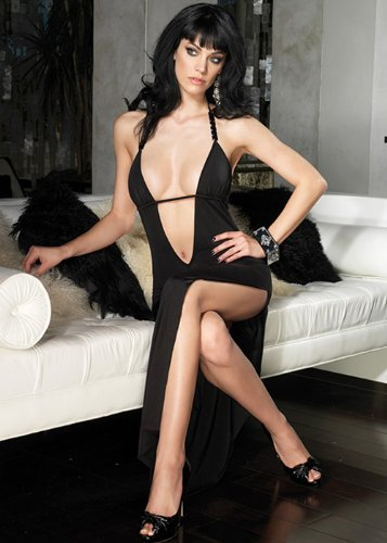 Slinky deep-V long dress Lingerie Dresses