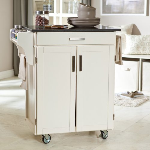 Kitchen Cart with Stainless Steel Top in Gray Finish