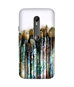 Brushes Printed Back Cover Case For Motorola Moto X3