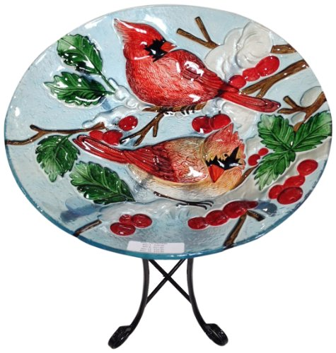 Continental Art Center CAC2607930 Deep Hand Painted Glass Plate, 18 by 3-Inch, Two Cardinals with Snow