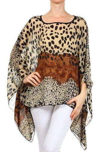Modern Kiwi Spot On Leopard Chiffon Print Scarf Caftan Poncho Tunic Top Brown One Size