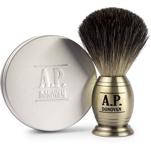A.P. Donovan - Rasatura Set: Pure che rade spazzola (densa testina) con 100 g di rasatura verdura - aspetto di ottone