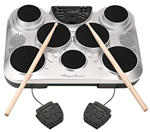 Spectrum AIL 602 7-Pad Digital Drum Set with Adjustable Stand, Pedals, Sticks and AC Adapter by M & M Merchandisers Inc