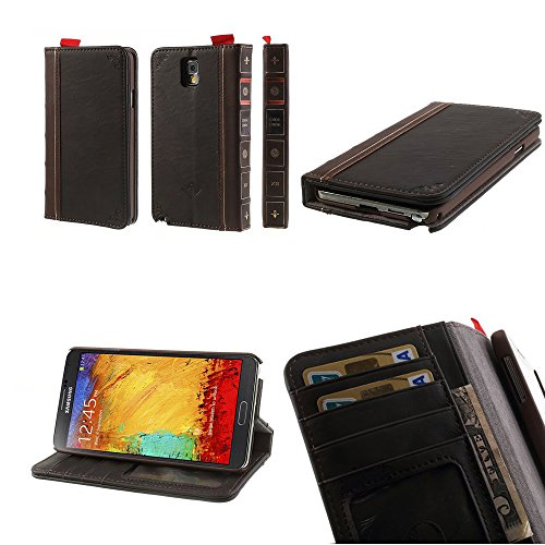 Pioneer Tech® Samsung Galaxy Note 3 Vintage Leather Classic Book Cover Case With Wallet Slots And Stand - Jq (Brown)