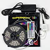 SUPERNIGHT® 16.4ft 5M Waterproof Flexible strip 300leds Color Changing RGB SMD5050 LED Light Strip Kit RGB 5M +44Key Remote+12V 5A Power Supply