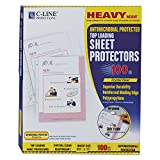 Heavyweight Antimicrobial Poly Sheet Protectors, Top Load, 3-Hole, Clear, 100/Bx CLI62033