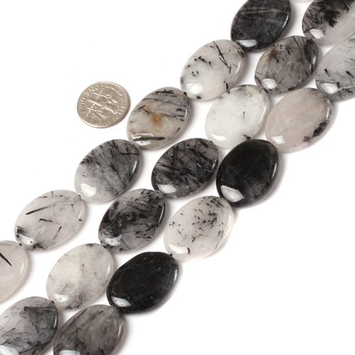 18x25mm Oval Gemstone Black Rutilated Beads Strand
