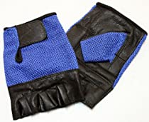 Blue Color Leather Velcro Strap Fingerless Gloves Size-L