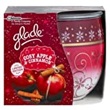 PACK OF 2 GLADE FRAGRANCED CANDLES IN DECORATED GLASS. COSY APPLE AND CINNAMON FRAGRANCE. LIMITED EDITION CHRISTMAS/HOLIDAY/WINTER SEASON.