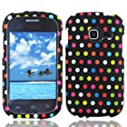 Bundle Accessory for Straight Talk Net 10 Samsung Galaxy Centura S738C - Artisan Designer Protective Hard Case Snap On Cover + SportDroid Transparent/Clear Decal (Colorful Polka Dots)