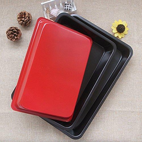 Bakeware Set, Yamix Set of 3 Rectangle Carbon Steel Nonstick Kitchenware Baking Pan Bake Roasting Pan Cookies Plate – Black + Red S