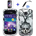 4 items Combo: ITUFFY(TM) Mini Stylus Pen + LCD Screen Protector Film + Case Opener + Silver Tree Skull Design Rubberized Snap on Hard Shell Cover Faceplate Skin Phone Case for Straight Talk Samsung Galaxy Proclaim 720C SCH-S720C / Verizon Samsung Illusion i110