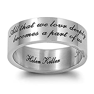 Men's Women's Love Ring Helen Keller Quote Stainless Steel Comfort Fit Band 7mm Size 7