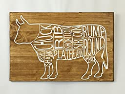 Cow Butcher Cuts Wooden Sign by An Engineered Craft