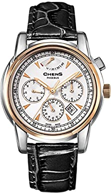 buy Chens Fantastic Discount Men'S 18K Gold Power Reserve Display White Dial Luminous Hand Black Leather Automatic Watch
