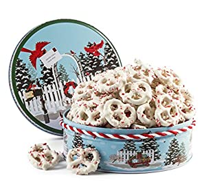 Happy Holidays, Merry Christmas Gourmet White Chocolate Candy Cane Pretzels Filled in a Reindeer Tin