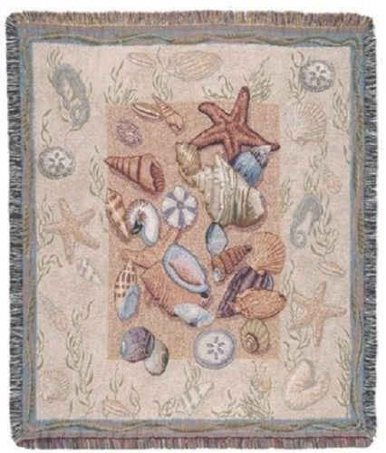 """Seashell Collection Beach Tapestry Throw Blanket Cover With Fringe 50"""" X 60"""" front-888311"""