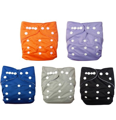 LOVE MY''★ Baby Washable Reusable Cloth Diapers,breathable, Adjustable Snap, 5pcs Pack Pocket Cloth Diaper with 1 Inserts Each , 5 Pcs + 5 Inserts (Boy Color) - 1