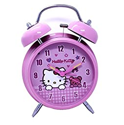 Hello Kitty Round Shaped Twin Bell Desktop Alarm Clock Pink 4 Inches