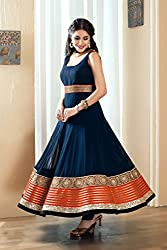 Ladies4Zone Design Women's Georgette Dress Material ( LZ4017_Free Size_Blue)