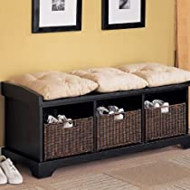 Entryway, Black,Coaster Bench with Storage Baskets and Cushions