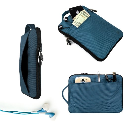 Vangoddy Dell Sapphire Hydei Padded Carrying Case For The Dell Streak 7 + Blue Noise Cancelling Dell Streak 7 Compatible Ear Bud
