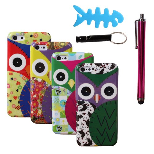 Teenitor(Tm) 8-In-1 Pack Hot Tough Cute Cartoon Owl Animal Pattern Design Snap On Case Hard Protective Cases For Iphone 5C (With Screen Protector, Stylu, Fish Earphone Cable Organizer, Whistle) Shipping From Usa