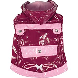 Dogit Style Reversible Butterfly Dog Raincoat, Small, Purple