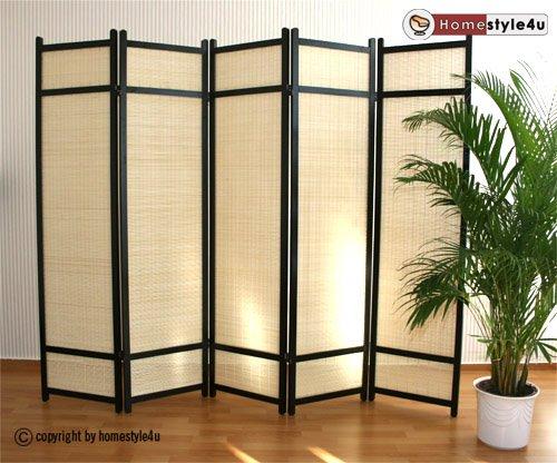 Homestyle4u 5 fach Paravent Raumteiler – Holz Trennwand Shoji mit Bambus in schwarz