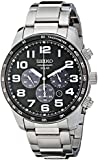 Seiko Men's Stainless Steel Black Dial Chronograph SSC229P9
