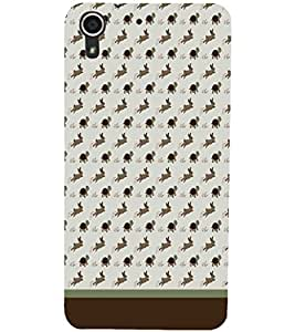 PrintDhaba Animal Pattern D-1762 Back Case Cover for HTC DESIRE 728 (Multi-Coloured)