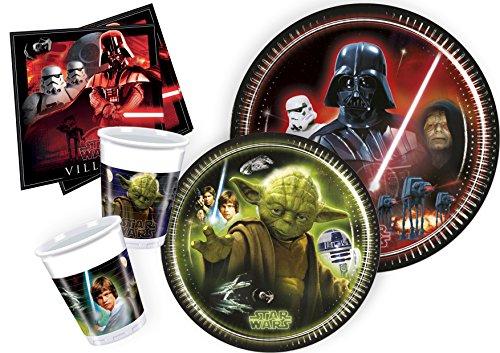 Ciao Y2533 - Kit de mesa Party Fiesta de Star Wars para 8 personas (44 piezas: 8 platos grandes, 8 platos medianos, 8 vasos y 20 servilletas)