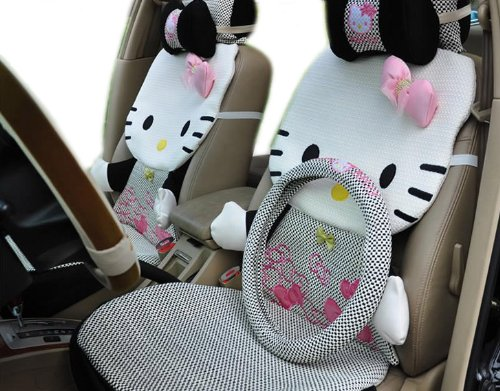 12pcs EMS Shipping 3d Kitty Figure Auto Car Seat Covers Accessories Set (Model: Zj000155)
