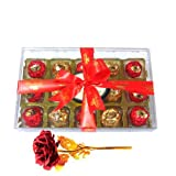 Valentine Chocholik's Luxury Chocolates - Great Combination Of Wrapped Chocolates With 24k Red Gold Rose
