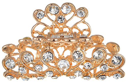 Manufacturer2 - Fermaglio dentato per capelli, gioiello in stile vintage, gioielli, con cristalli di strass, placcato in oro