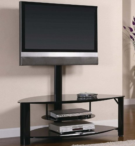 Cheap TV Stand Media Console with Bracket Tempered Black Glass and Metal Base (VF_700667)