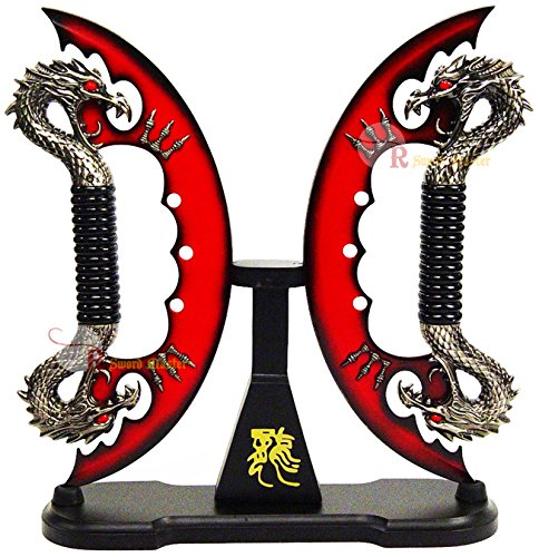 """Swordmaster - 11"""" Red Fire Blade Dual Fantasy Dragon Sword Daggers Knife With Stand Brand New"""